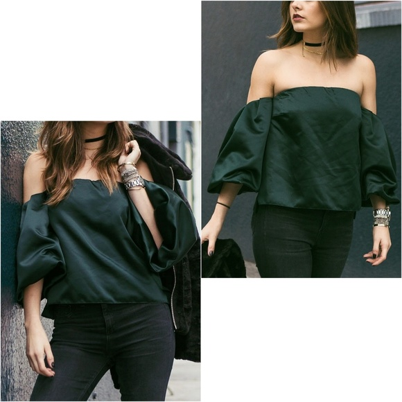 40cf565287b Zara Tops | Woman Off The Shoulder Green Top | Poshmark